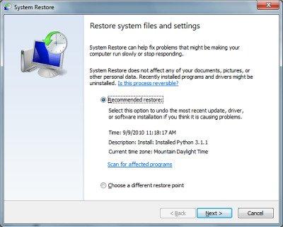 restoring file