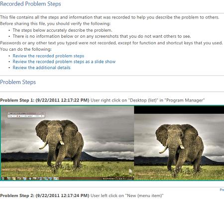recorded problem steps